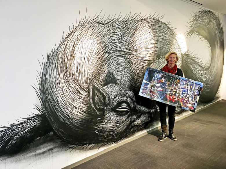 Side by side with worldfamous streetartist ROA at Flanders House New York